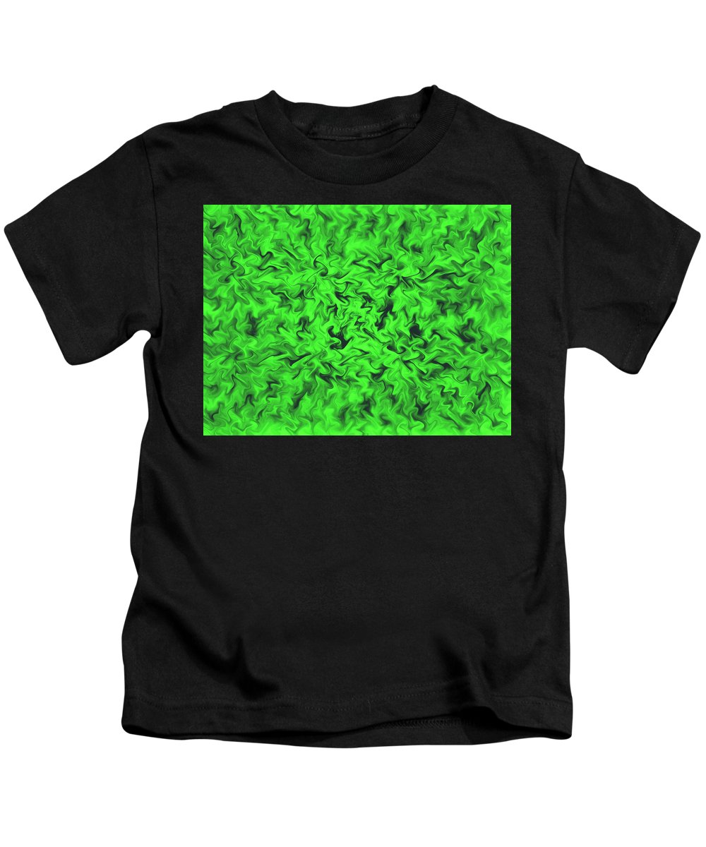 Colorful Kids T-Shirt featuring the digital art Fiery Green by Lorna Hooper