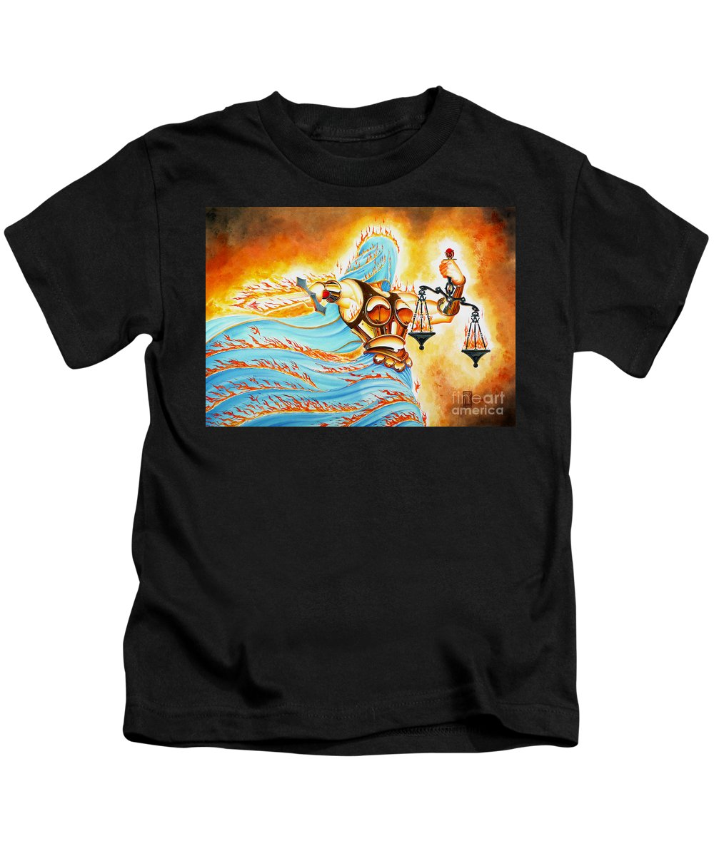 Fantasy Kids T-Shirt featuring the drawing Fiery Justice by Melissa A Benson