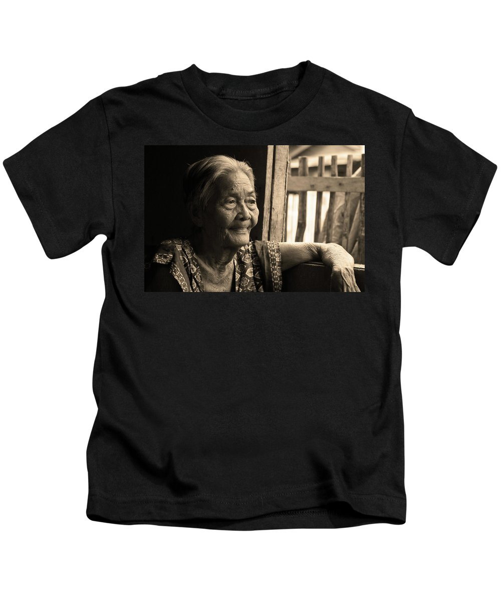 Philippines Kids T-Shirt featuring the photograph Filipino Lola - Image 14 Sepia by James BO Insogna
