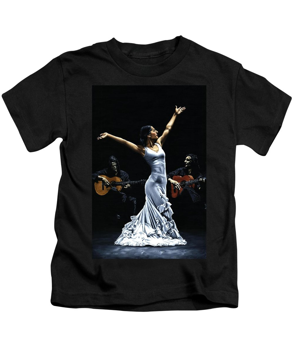 Flamenco Kids T-Shirt featuring the painting Finale Del Funcionamiento Del Flamenco by Richard Young