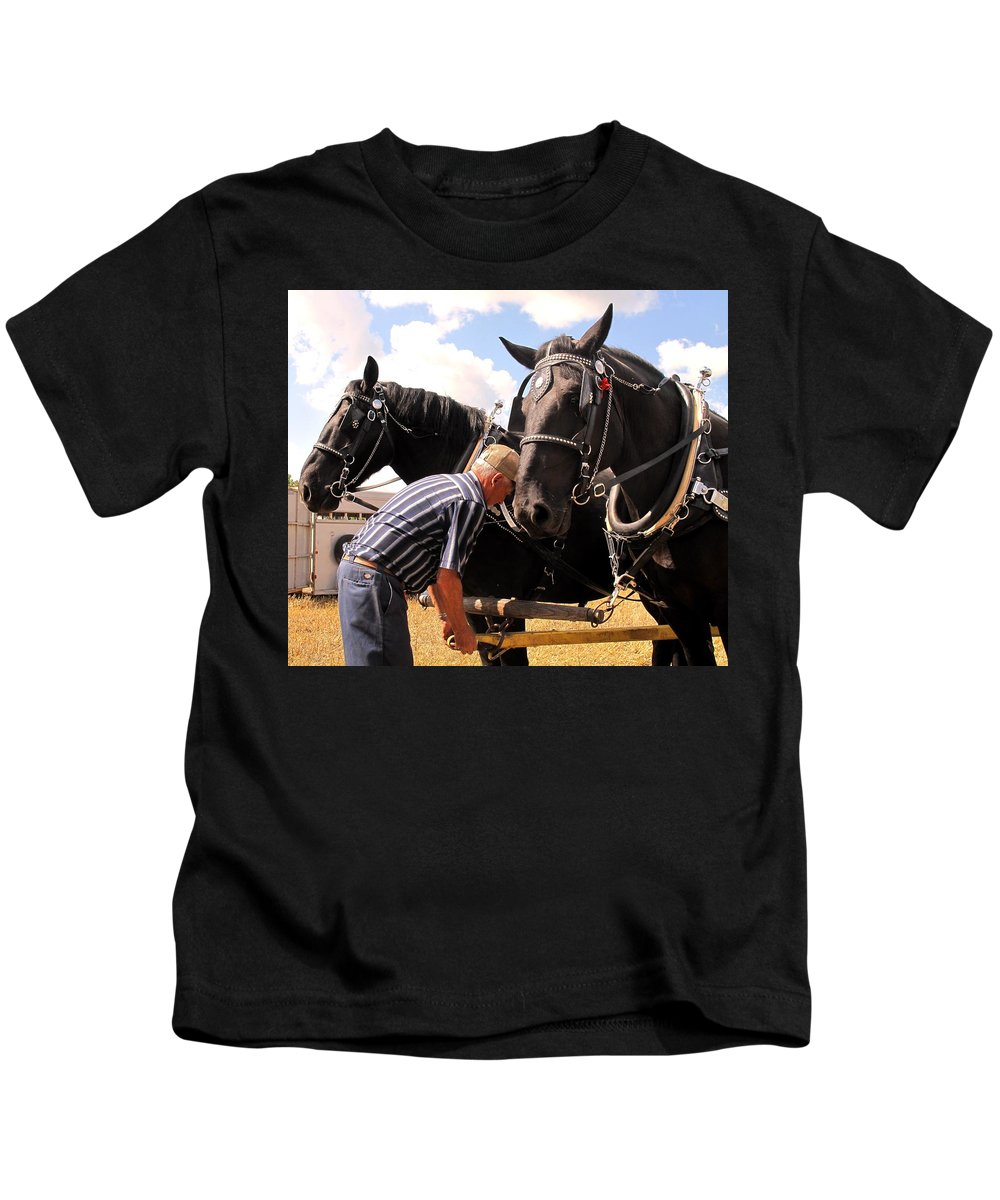 Horses Kids T-Shirt featuring the photograph Fine Tuning by Ian MacDonald