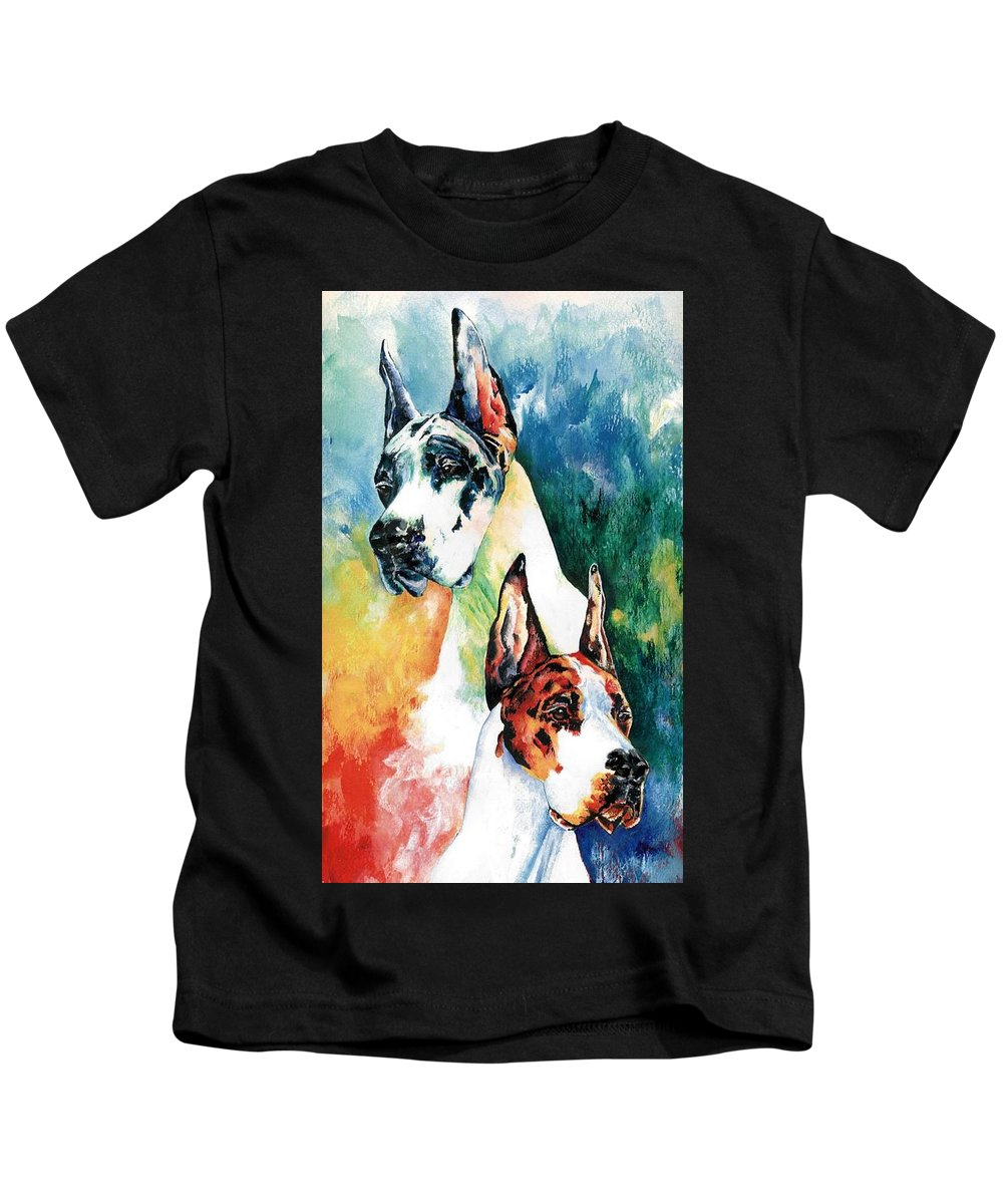 Great Dane Kids T-Shirt featuring the painting Fire And Ice by Kathleen Sepulveda