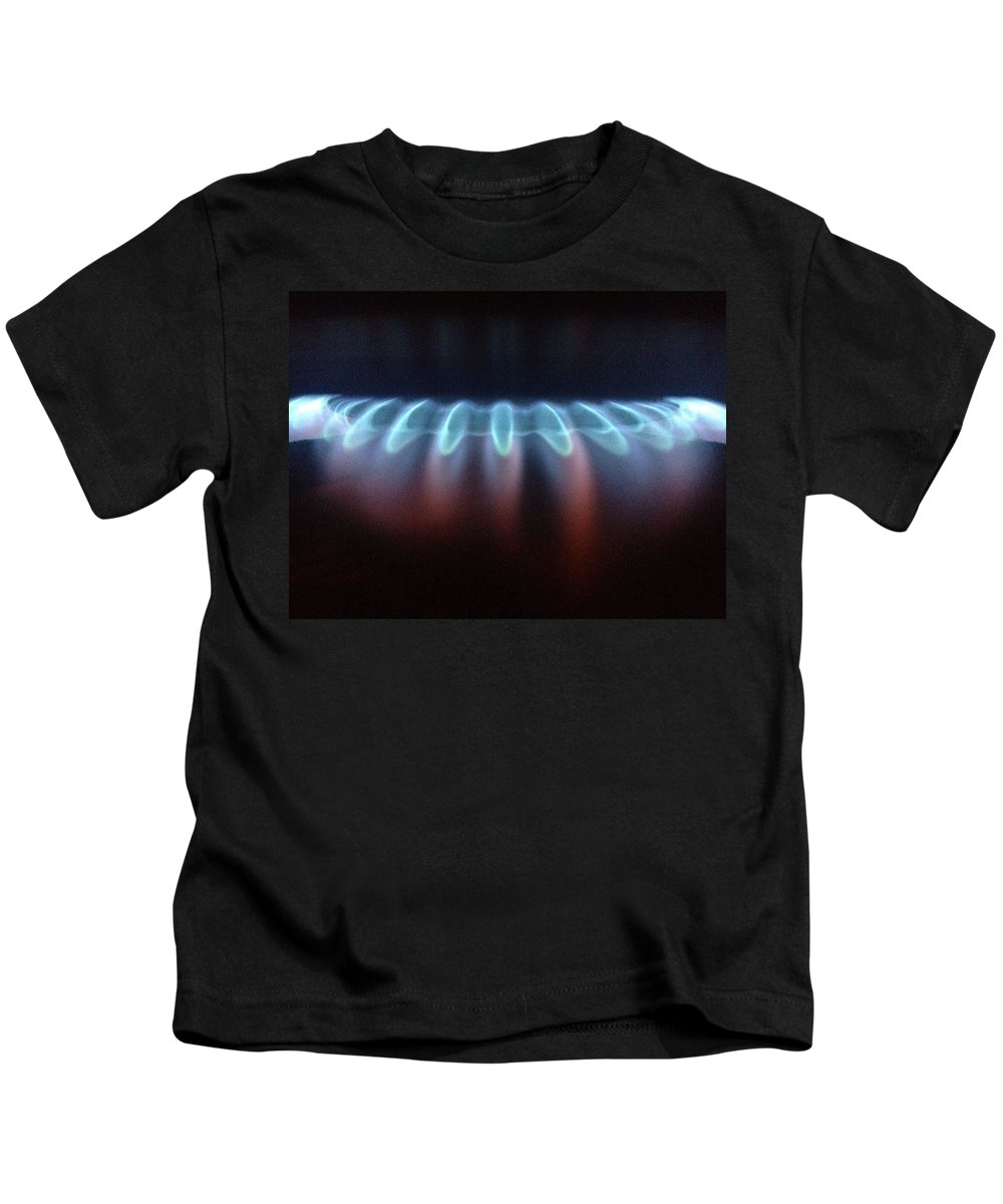 Flame Gas Hob Oven Blue Pink Purple Kids T-Shirt featuring the photograph Fire At Night by In Plain Sight