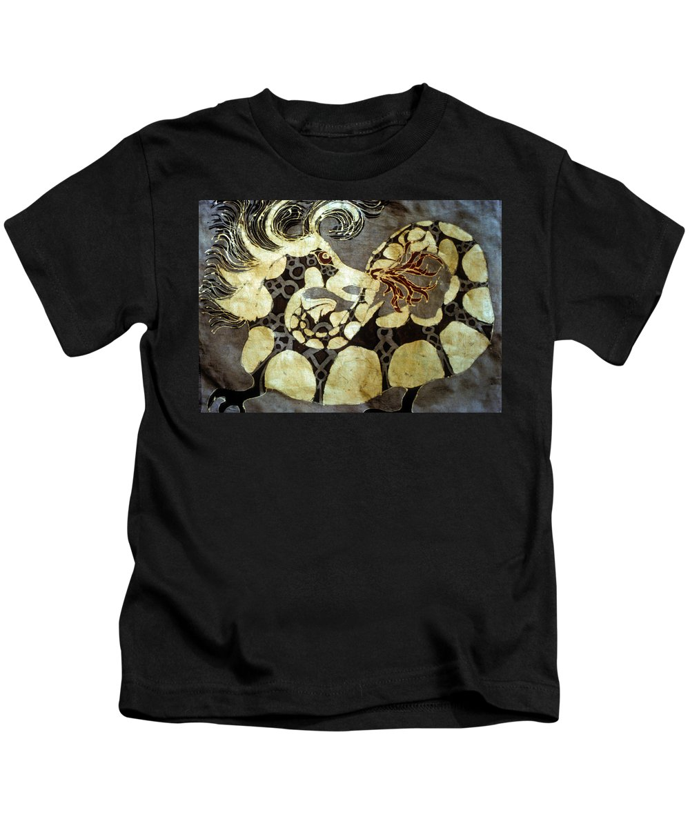 Dragon Kids T-Shirt featuring the tapestry - textile Fire Breathing Dragon by Carol Law Conklin