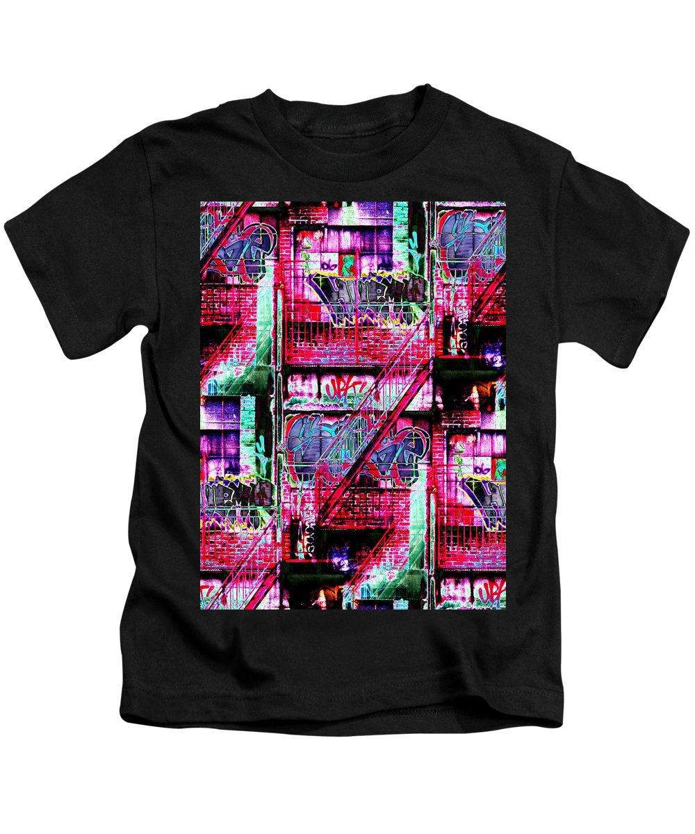 Fire Escape Kids T-Shirt featuring the digital art Fire Escape 3 by Tim Allen