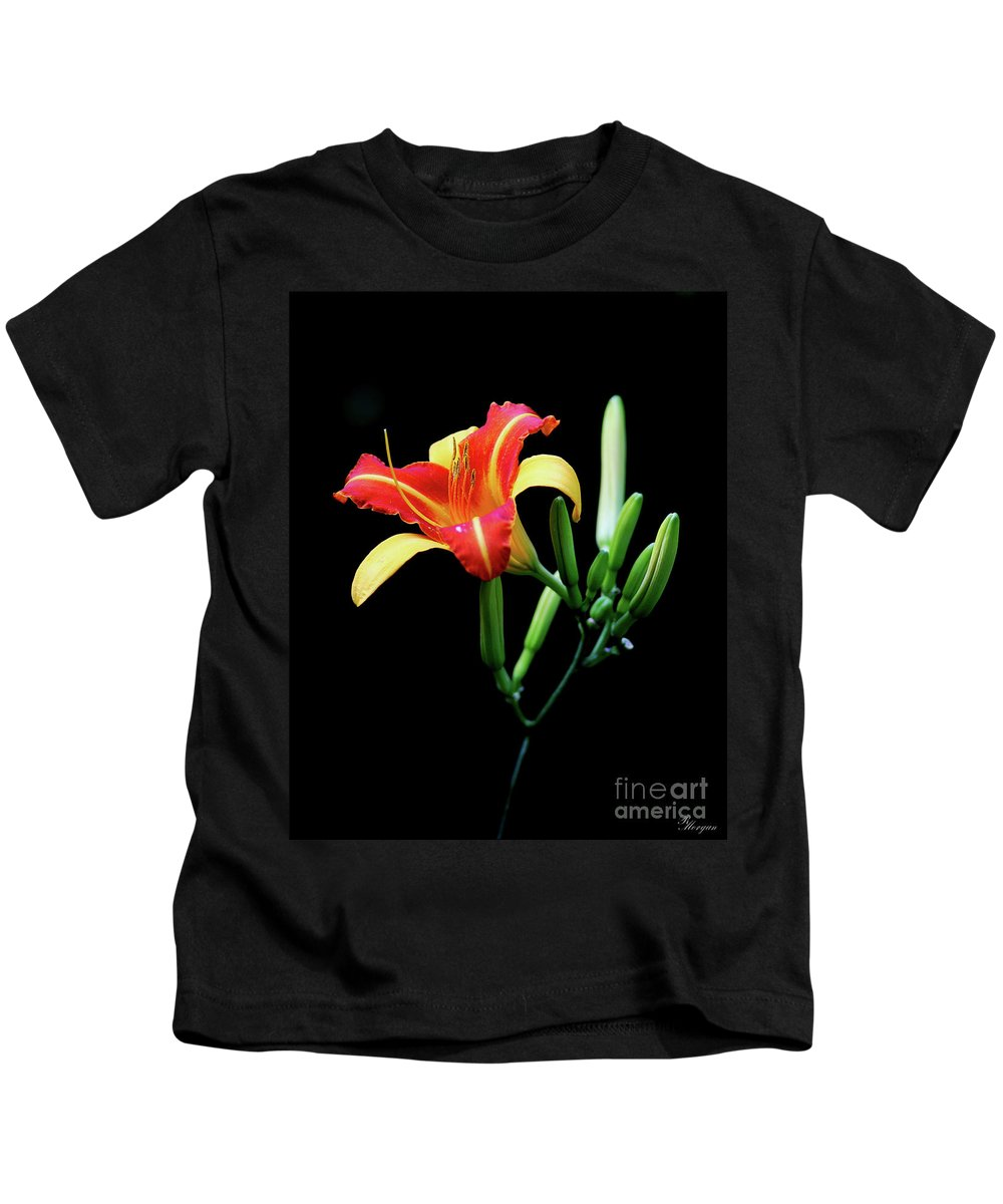 Lilium Kids T-Shirt featuring the photograph Fire Lily 2 by Rebecca Morgan