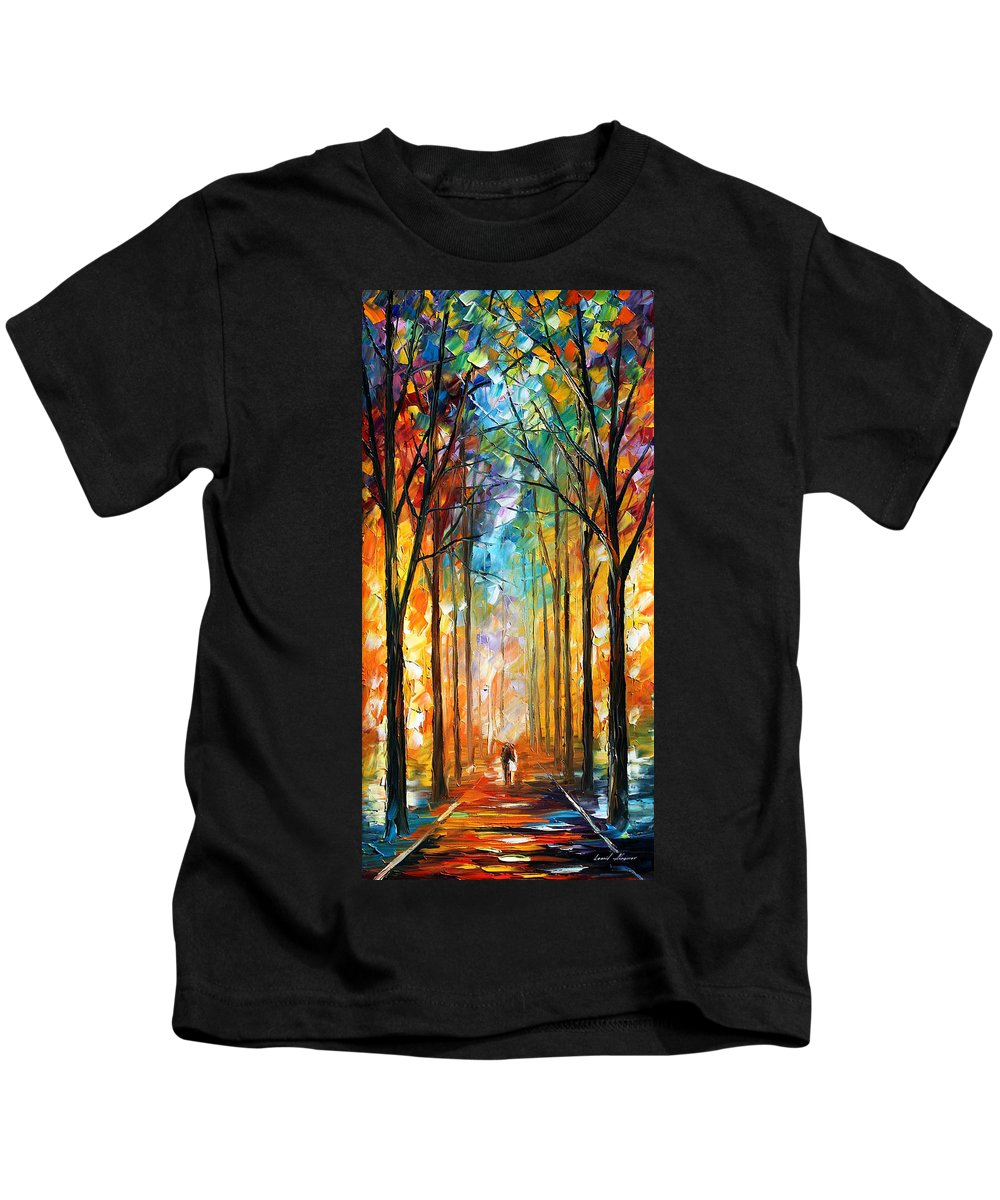 Afremov Kids T-Shirt featuring the painting Fire Night by Leonid Afremov