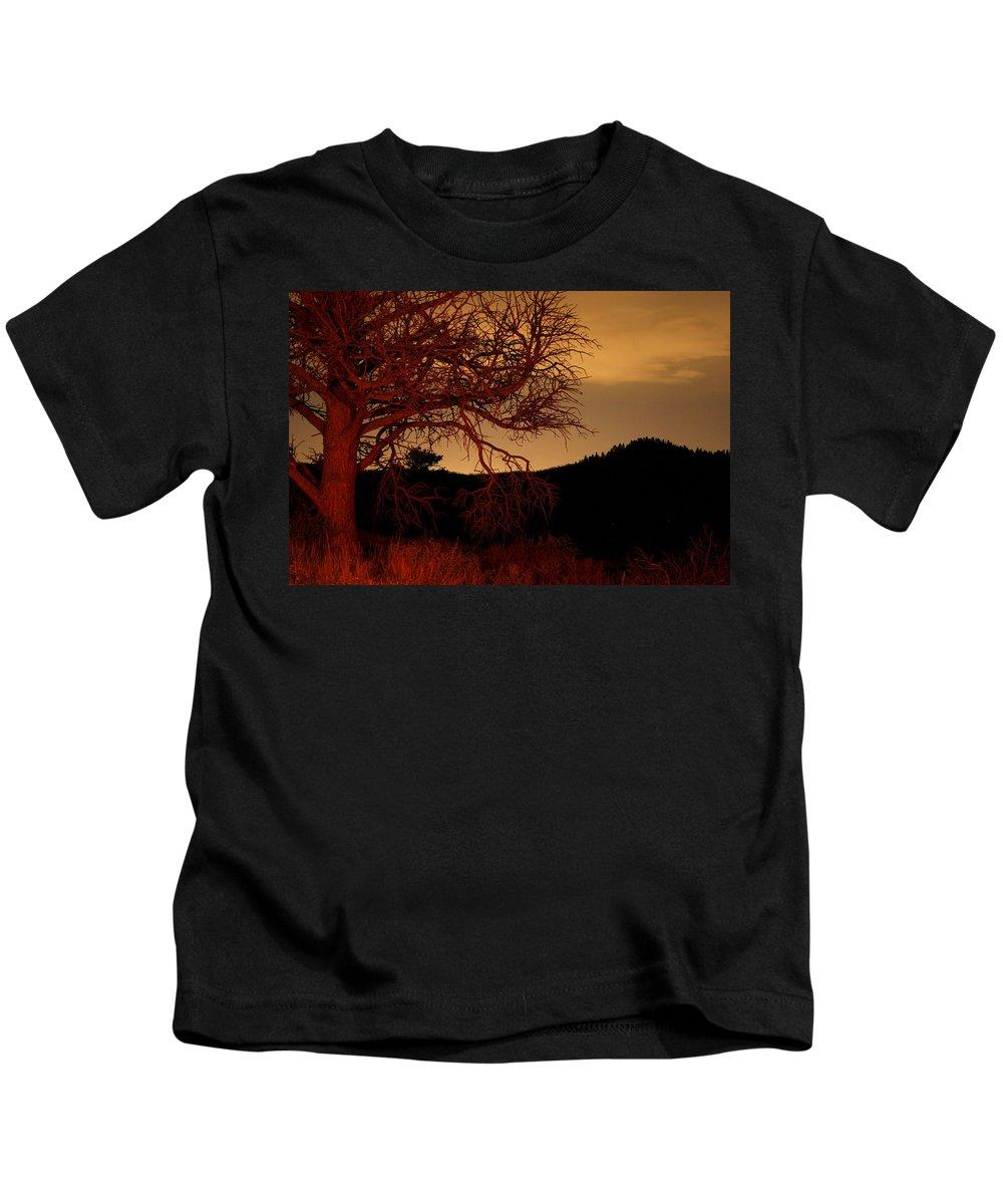 Landscape Kids T-Shirt featuring the photograph Fire Tree by Jeffery Ball