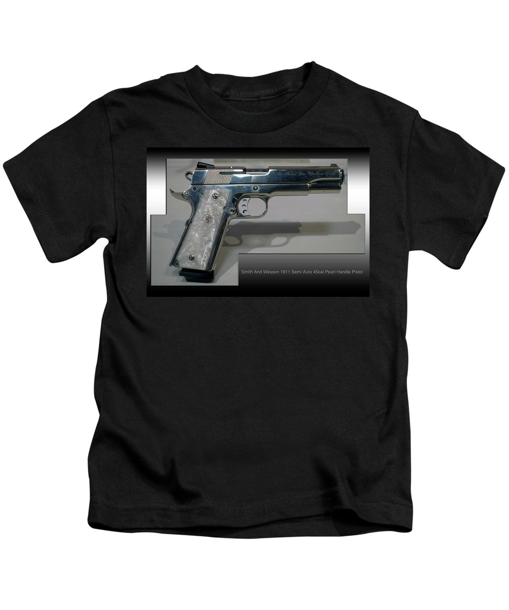 Smith And Wesson Kids T-Shirt featuring the photograph Firearms Smith And Wesson 1911 Semi Auto 45cal Pearl Handle Pistol by Thomas Woolworth