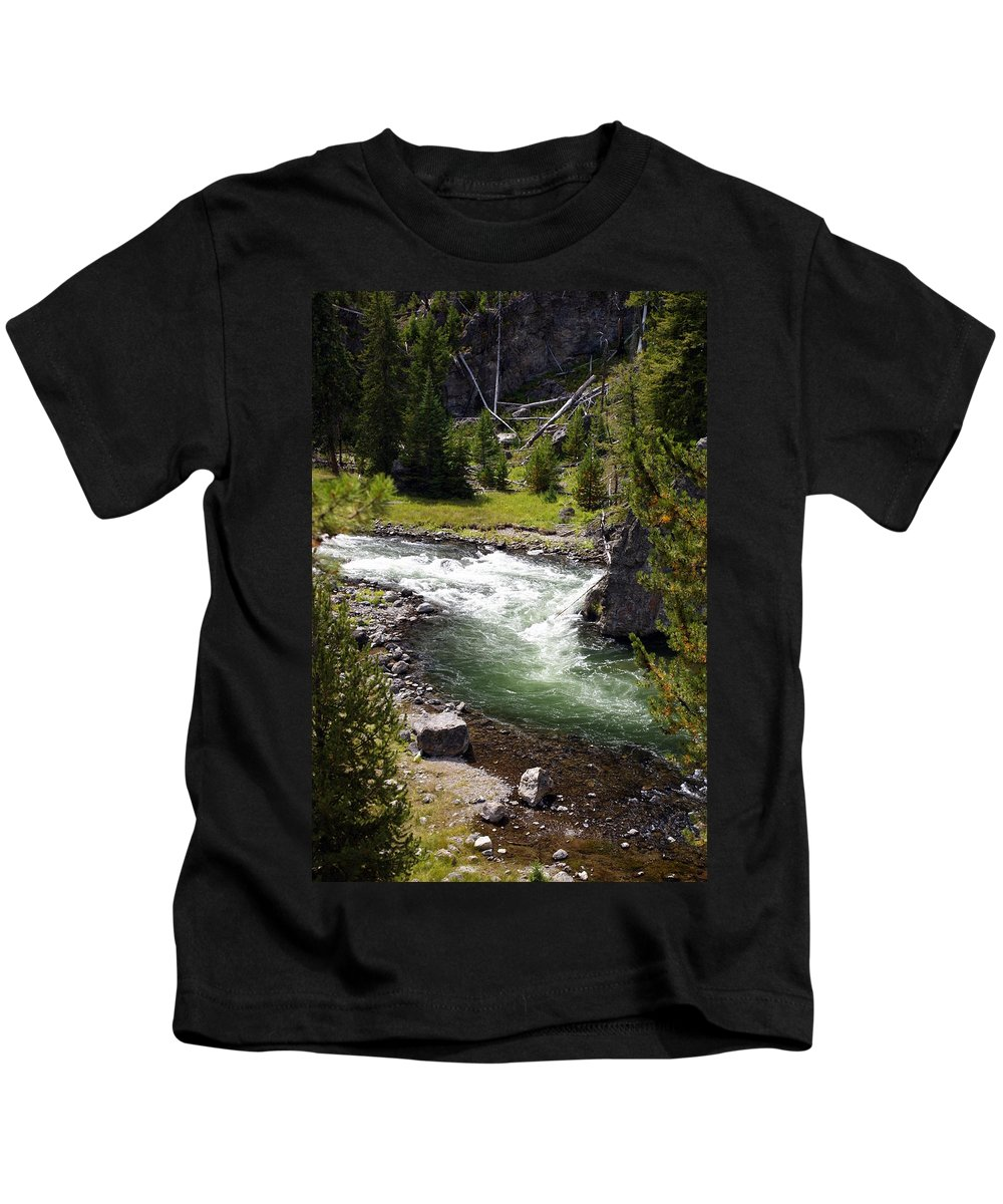Yellowstone National Park Kids T-Shirt featuring the photograph Firehole Canyon 2 by Marty Koch
