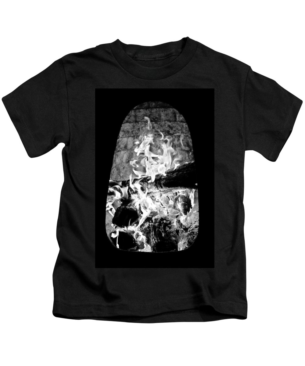 Black And White Kids T-Shirt featuring the photograph Fireplace Black And White by Jill Reger