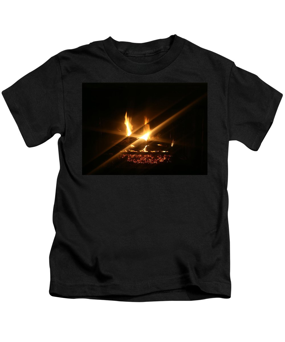 Fireplace Kids T-Shirt featuring the photograph Fireplace by Ellen Henneke
