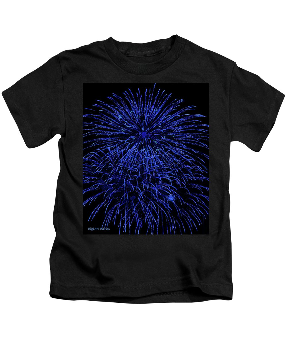 Fireworks Kids T-Shirt featuring the digital art Firework Blues by DigiArt Diaries by Vicky B Fuller
