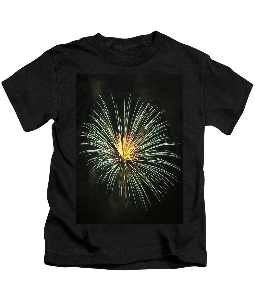 Fireworks Kids T-Shirt featuring the photograph Fireworks Green Flower by Steven Natanson