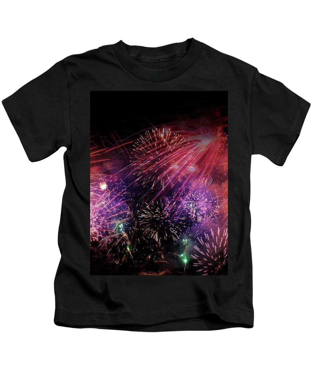Fireworks Kids T-Shirt featuring the digital art Fireworks by Ivan Angelovski