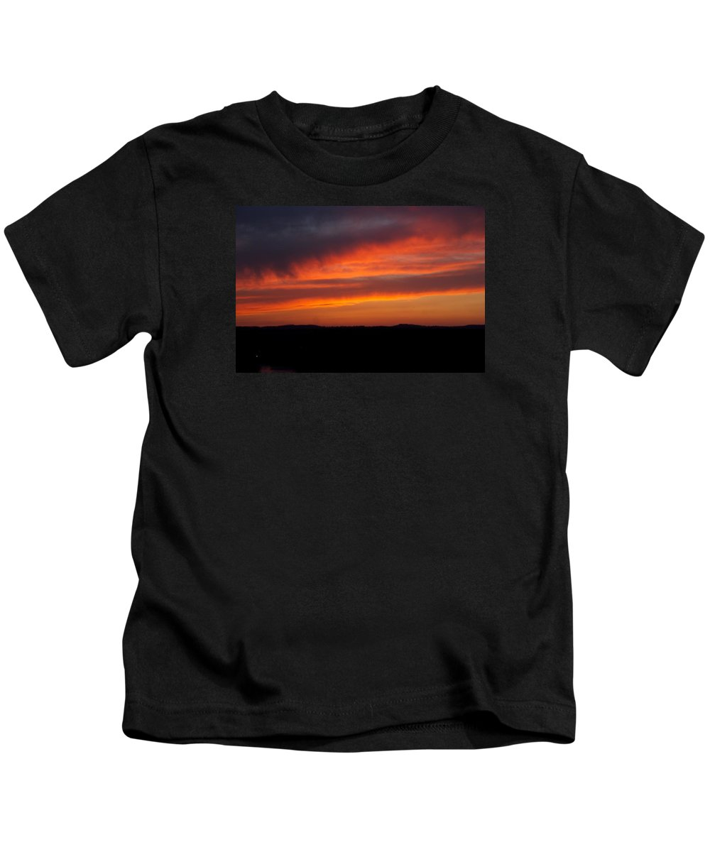 Red Sunset Kids T-Shirt featuring the photograph Firey Skies by Toni Berry