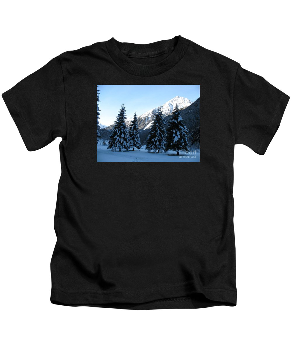 Tree Kids T-Shirt featuring the photograph Firs In The Snow by Christiane Schulze Art And Photography