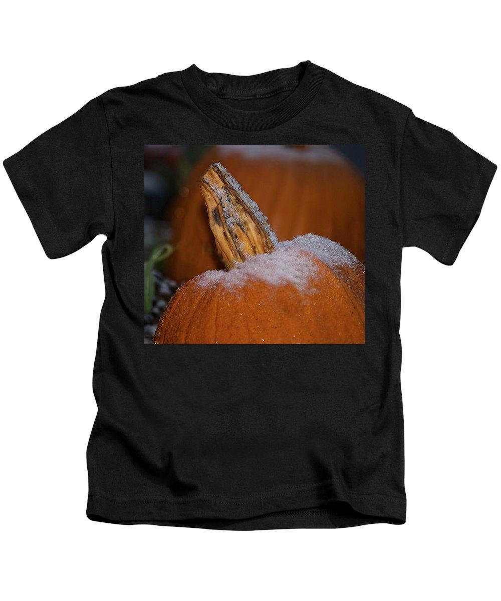 Pumpkin Print Kids T-Shirt featuring the photograph First Frost by Deborah M Rinaldi