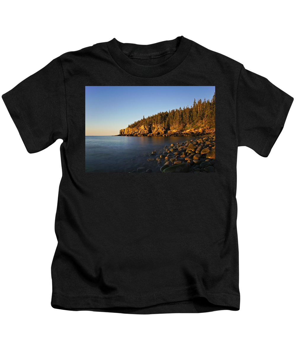 Acadia Kids T-Shirt featuring the photograph First Light by Brian Kamprath