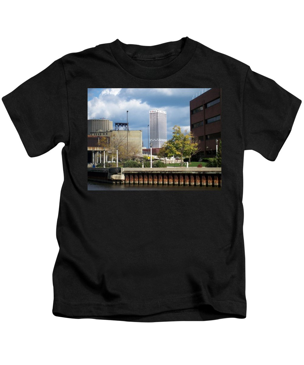 First Star Bank Kids T-Shirt featuring the photograph First Star View From River by Anita Burgermeister
