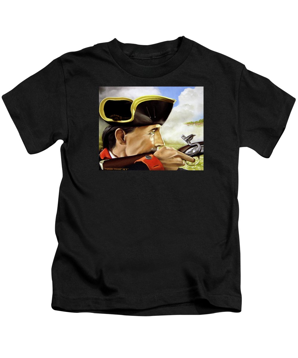 Continental Kids T-Shirt featuring the painting First To Fight by Marc Stewart