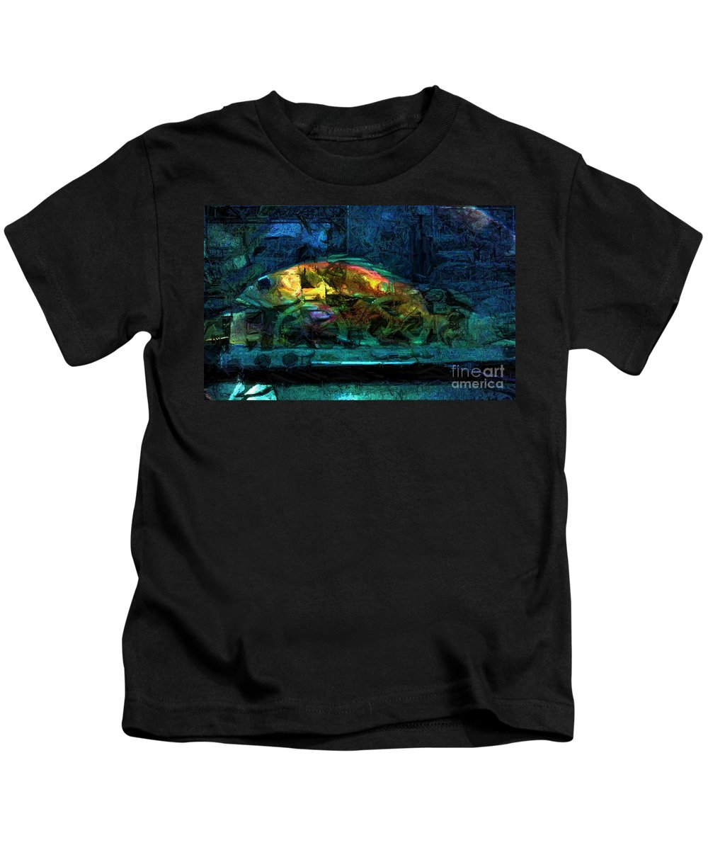 Fish Kids T-Shirt featuring the digital art Fish Wheels by Ron Bissett