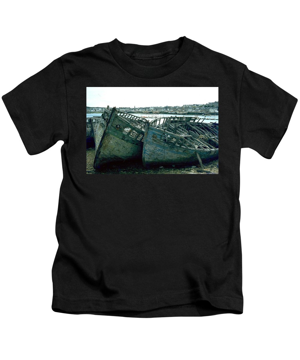 Fisher Boats Kids T-Shirt featuring the photograph Fisher Boats by Flavia Westerwelle