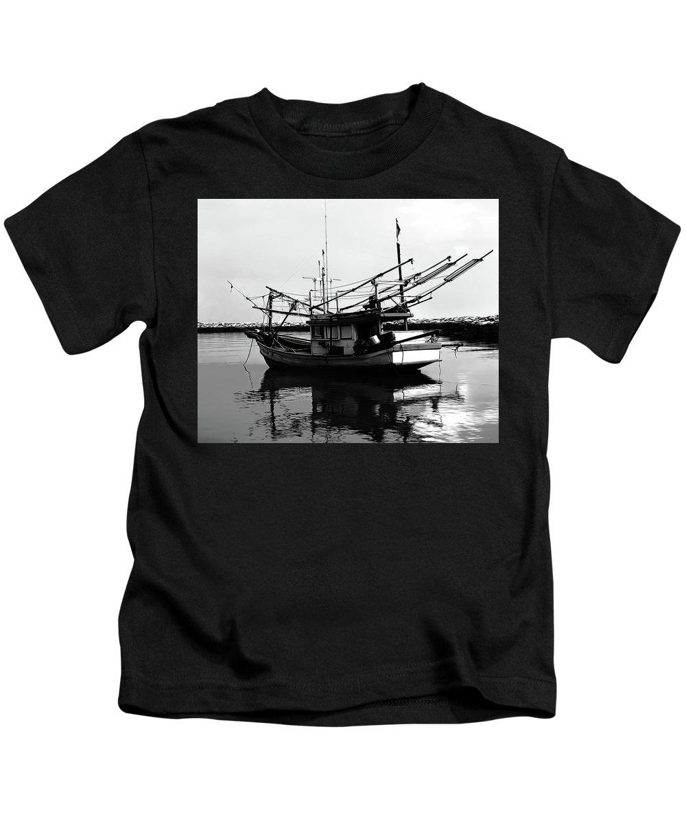 Boat Kids T-Shirt featuring the digital art Fisherman's Boat by Andrea Dalla Bona
