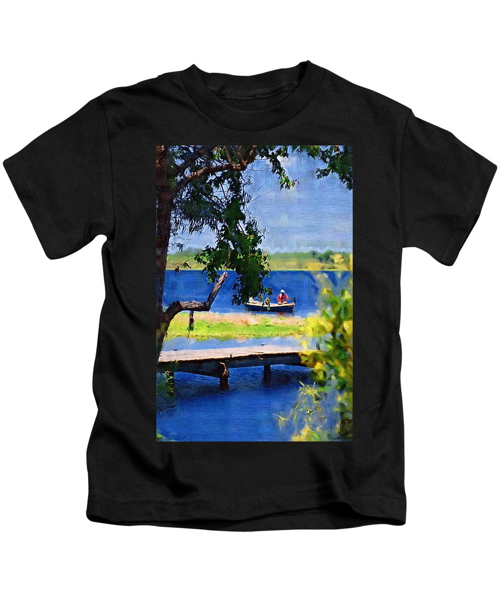 Ponds Kids T-Shirt featuring the photograph Fishin by Donna Bentley