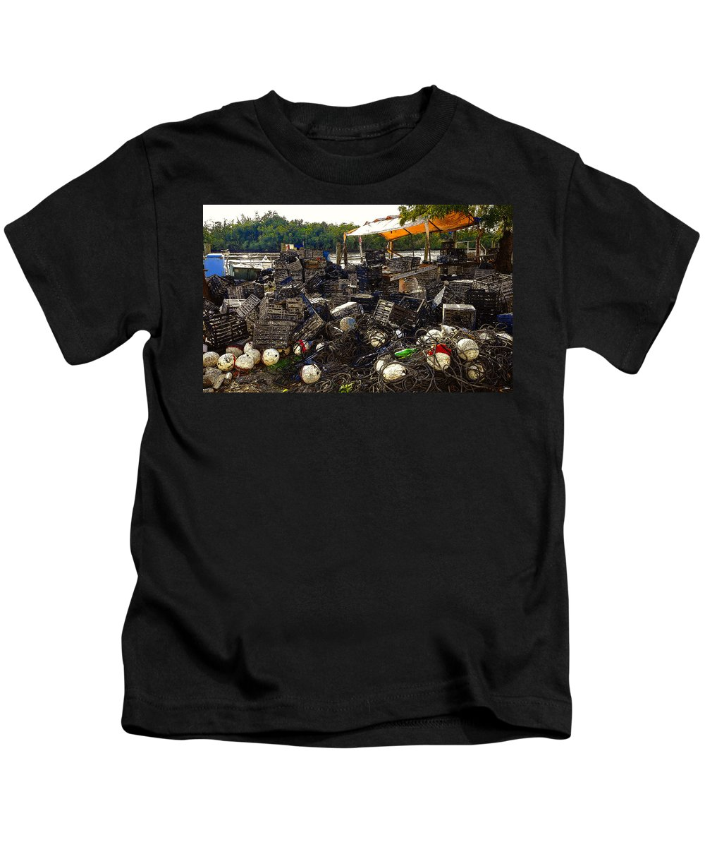 Art Kids T-Shirt featuring the painting Fishing A Living by David Lee Thompson