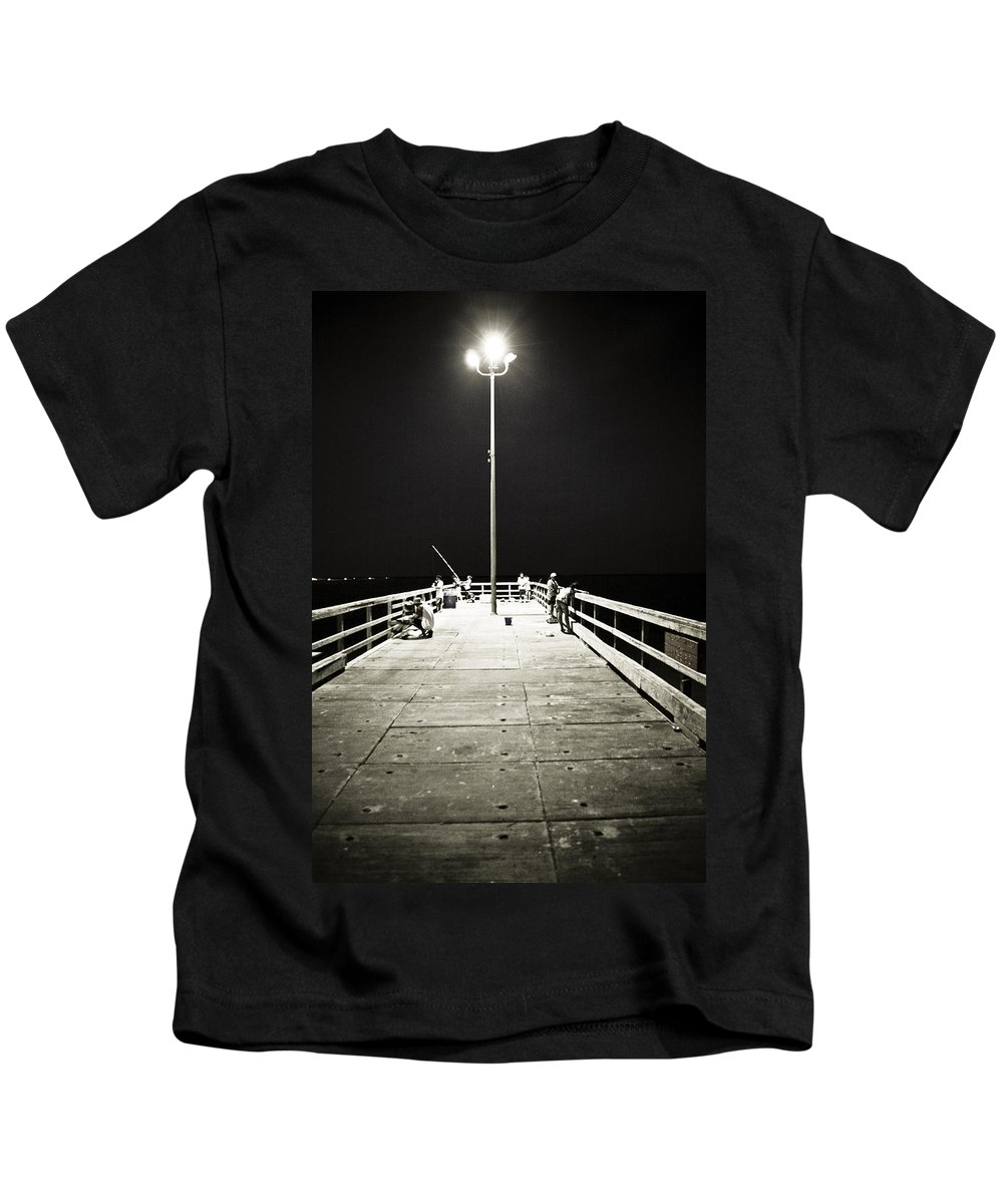 Americana Kids T-Shirt featuring the photograph Fishing At Night by Marilyn Hunt