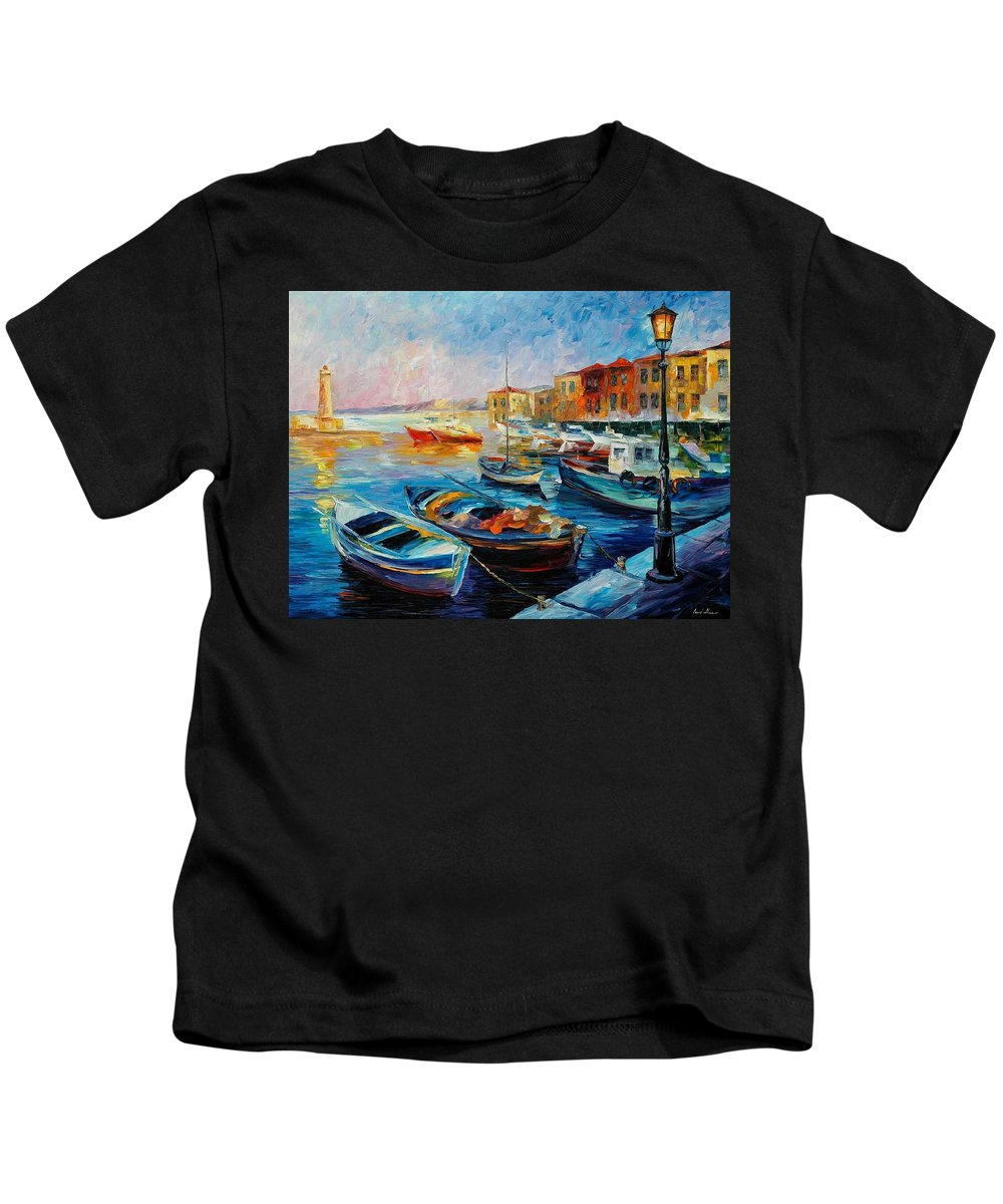 Afremov Kids T-Shirt featuring the painting Fishing Boats by Leonid Afremov
