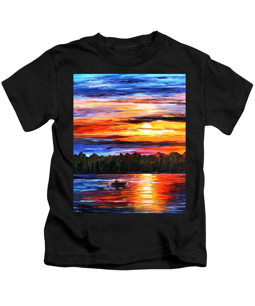 Seascape Kids T-Shirt featuring the painting Fishing By The Sunset by Leonid Afremov