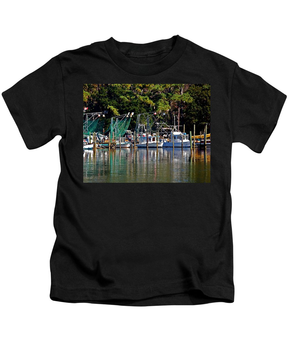 Shrimp Boat Kids T-Shirt featuring the painting Fishing Fleet by Michael Thomas
