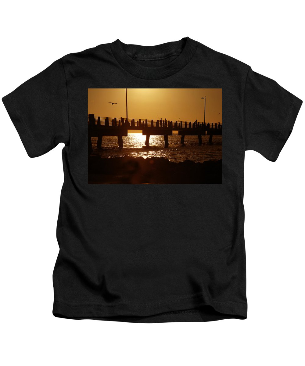 Fort De Soto Kids T-Shirt featuring the photograph Fishing Off The Pier At Fort De Soto At Dusk by Mal Bray