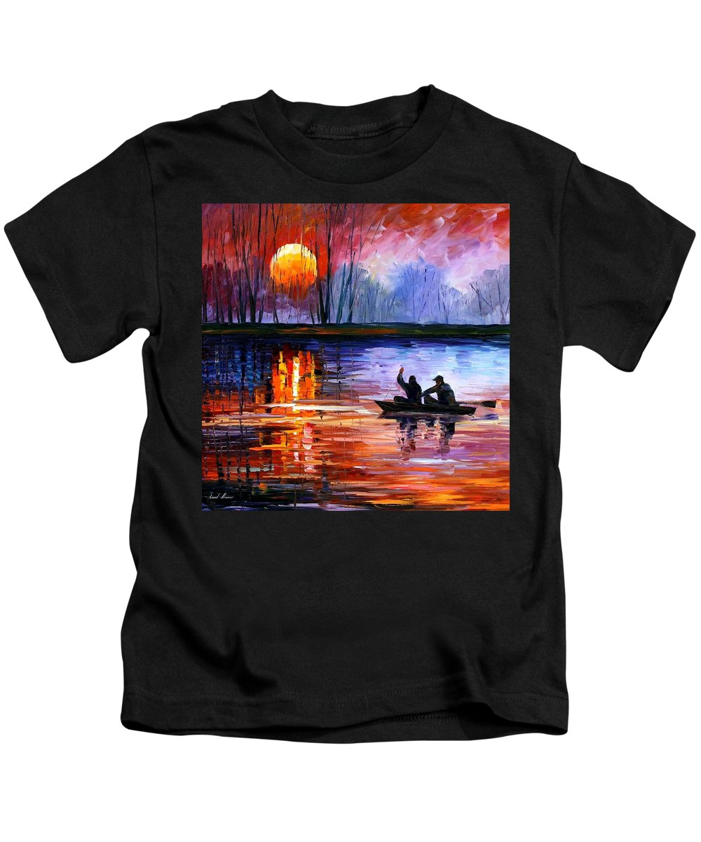 Seascape Kids T-Shirt featuring the painting Fishing On The Lake by Leonid Afremov