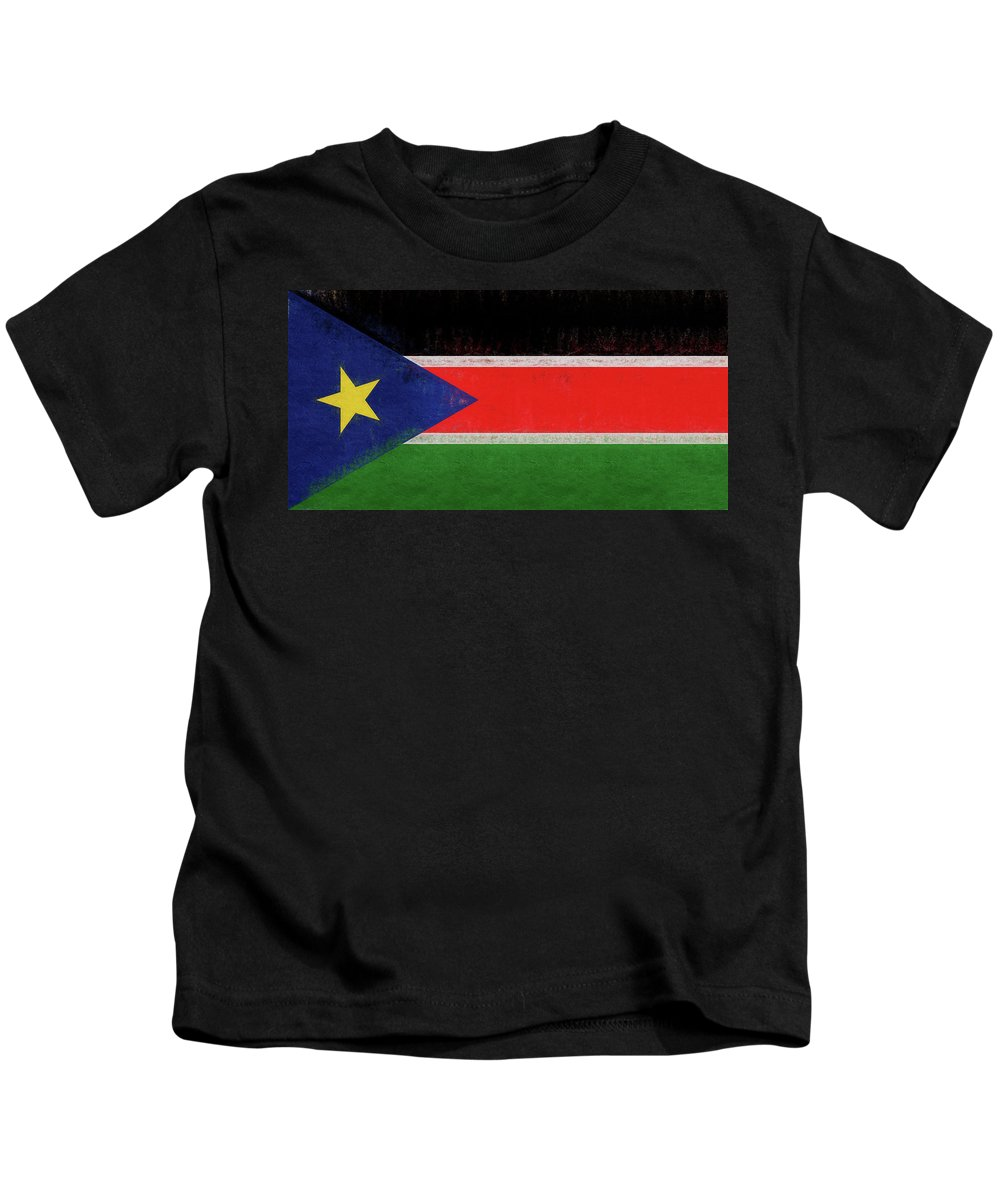 Africa Kids T-Shirt featuring the digital art Flag Of South Sudan Grunge by Roy Pedersen
