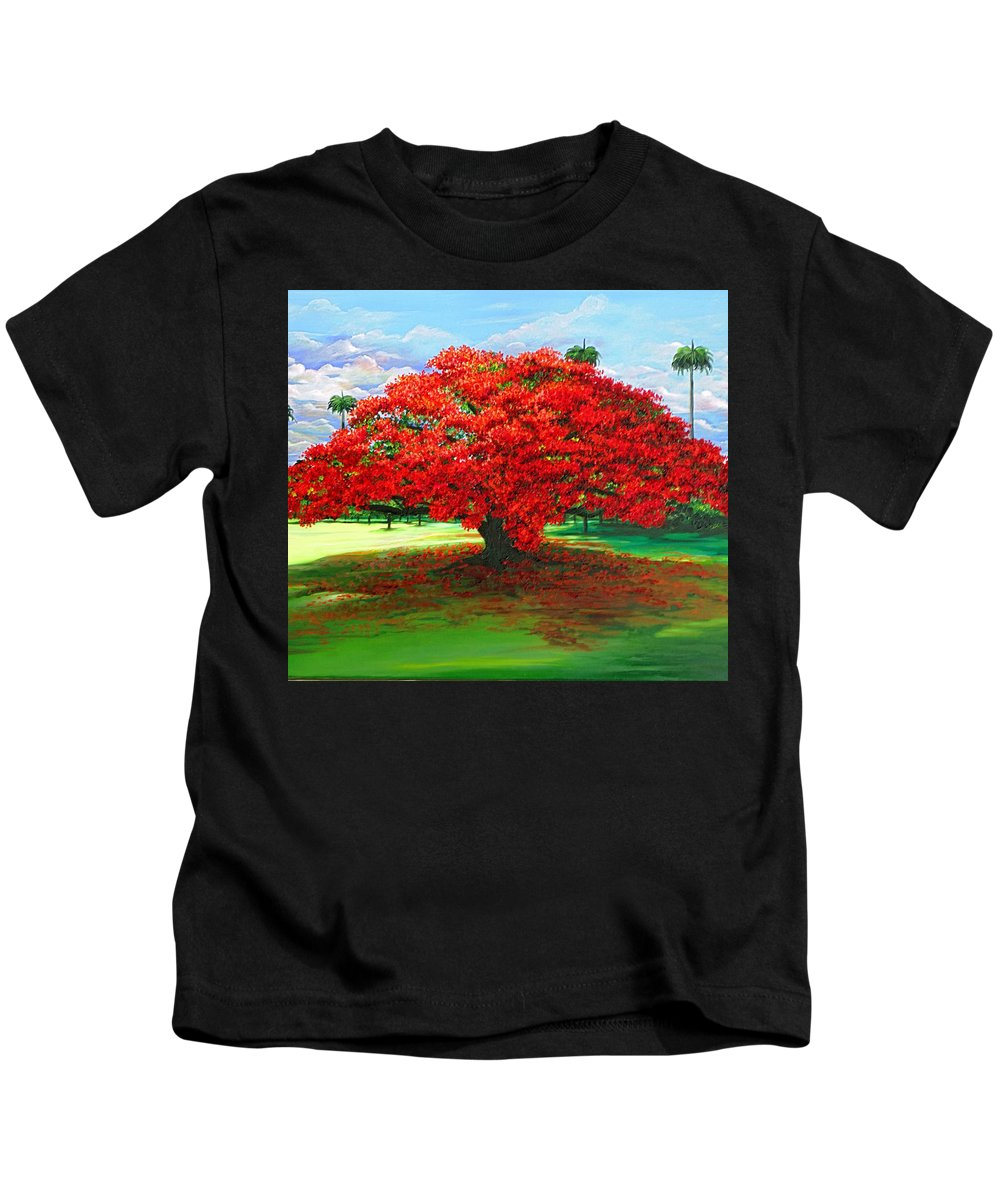 Flamboyant Tree Kids T-Shirt featuring the painting Flamboyant Ablaze by Karin Dawn Kelshall- Best