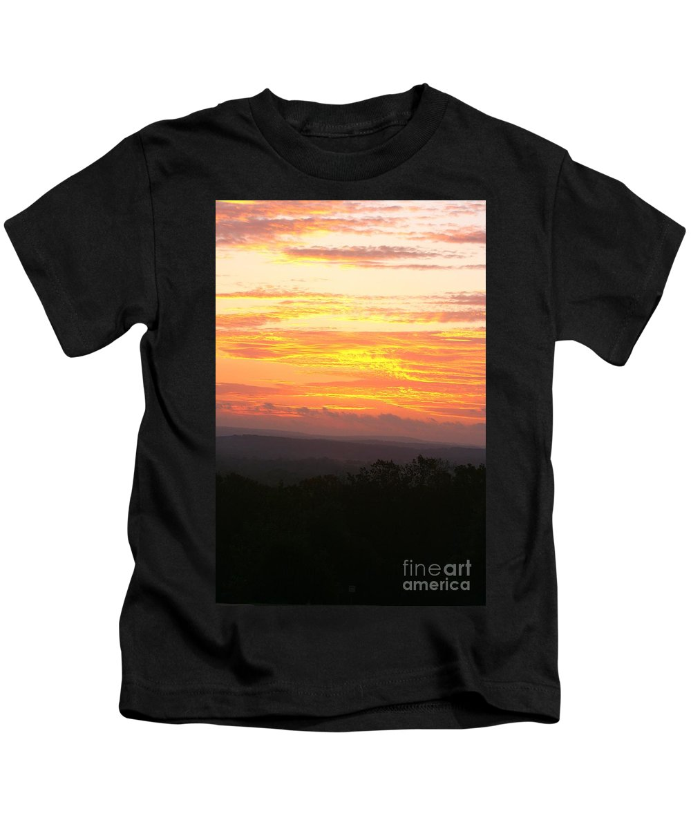 Sunrise Kids T-Shirt featuring the photograph Flaming Autumn Sunrise by Nadine Rippelmeyer