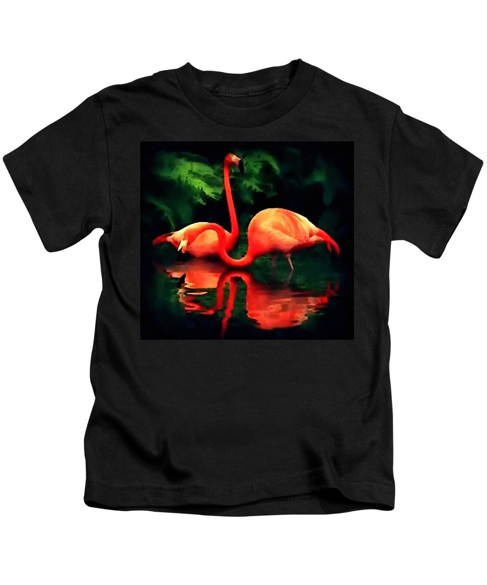 Announcement Kids T-Shirt featuring the painting Flamingos - 1 H B by Gert J Rheeders