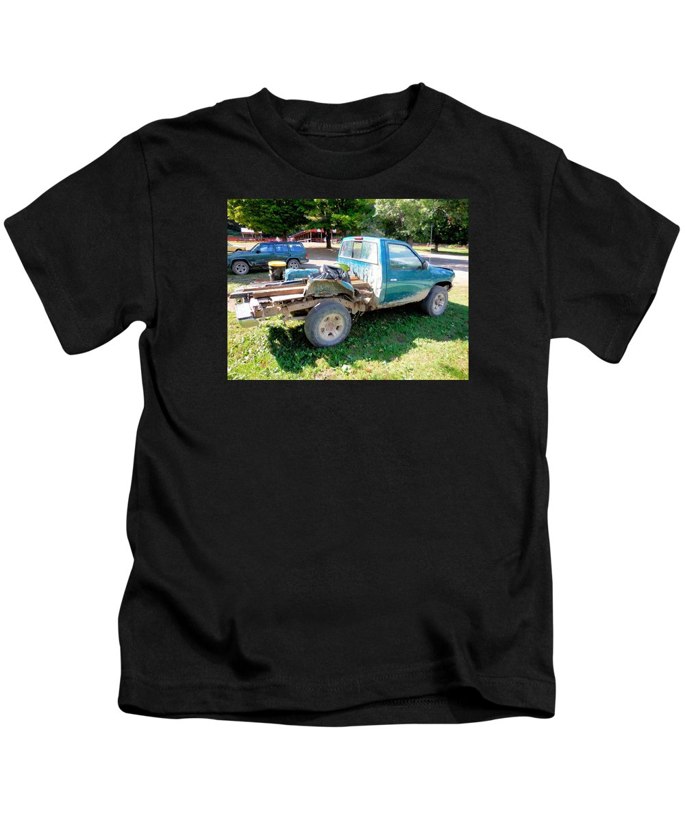 Flatbed Truck Kids T-Shirt featuring the painting Flatbed Truck by Jeelan Clark