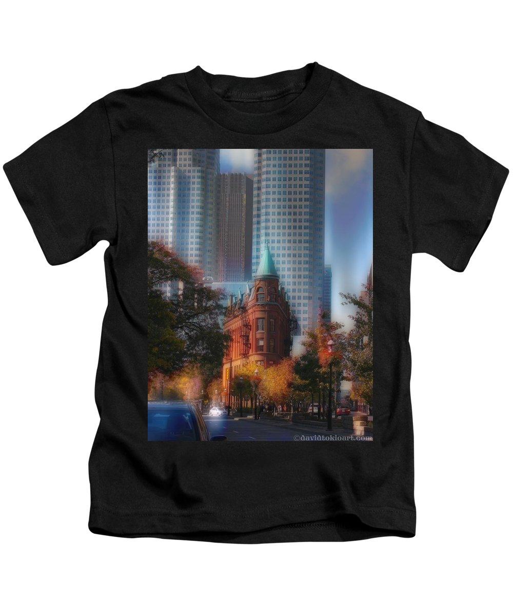 #flatironbuiding Kids T-Shirt featuring the photograph Flatiron Building Toronto Ca by David Tokio