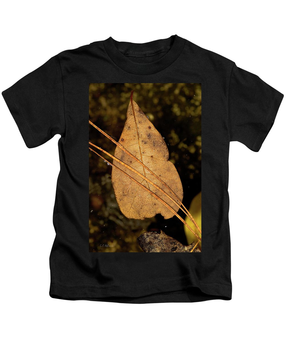 Leaf Kids T-Shirt featuring the photograph Floating by Christopher Holmes