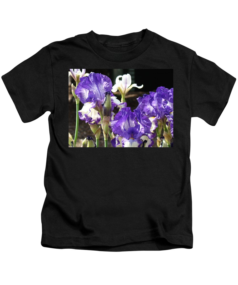 �irises Artwork� Kids T-Shirt featuring the photograph Flora Bota Irises Purple White Iris Flowers 29 Iris Art Prints Baslee Troutman by Baslee Troutman
