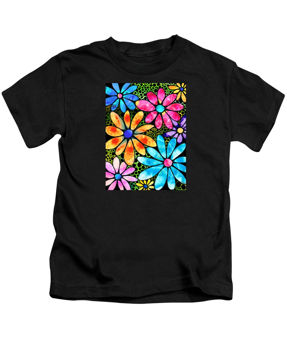 Flower Kids T-Shirt featuring the painting Floral Art - Big Flower Love - Sharon Cummings by Sharon Cummings
