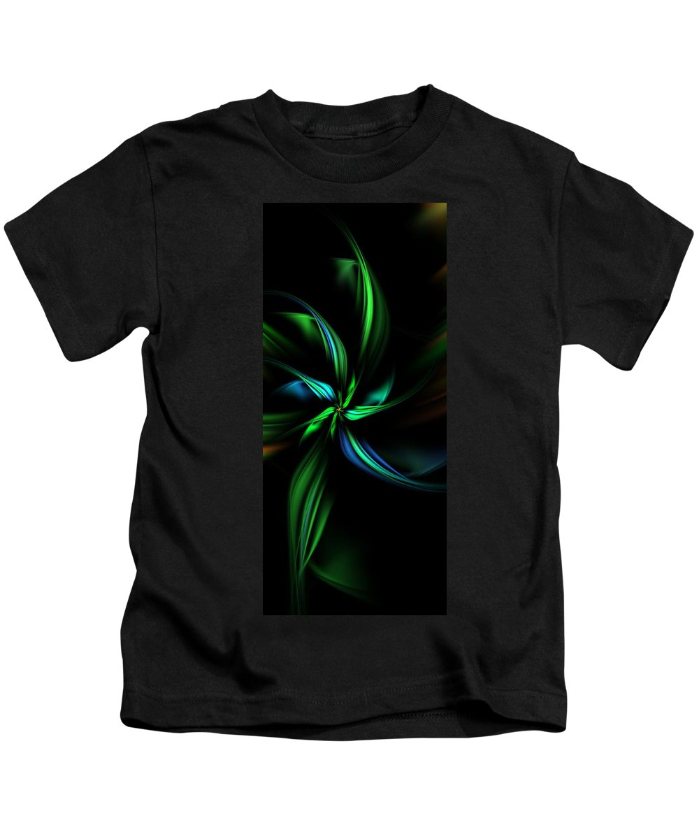 Digital Painting Kids T-Shirt featuring the digital art Floral Fractal 040710 by David Lane