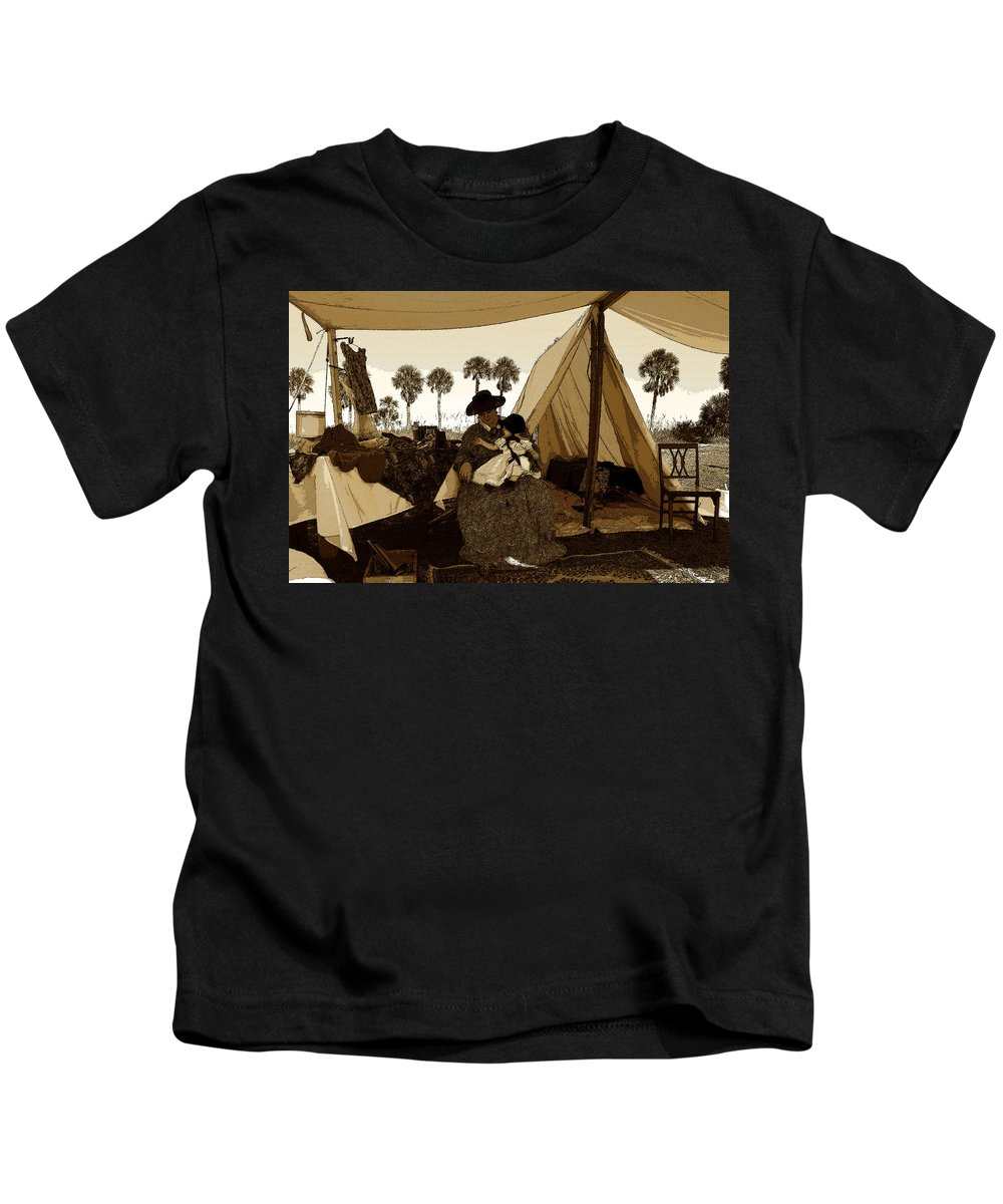 Art Kids T-Shirt featuring the painting Florida Pioneers 1800s by David Lee Thompson