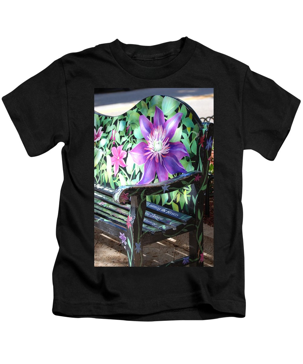 Macro Kids T-Shirt featuring the photograph Flower Bench by Rob Hans