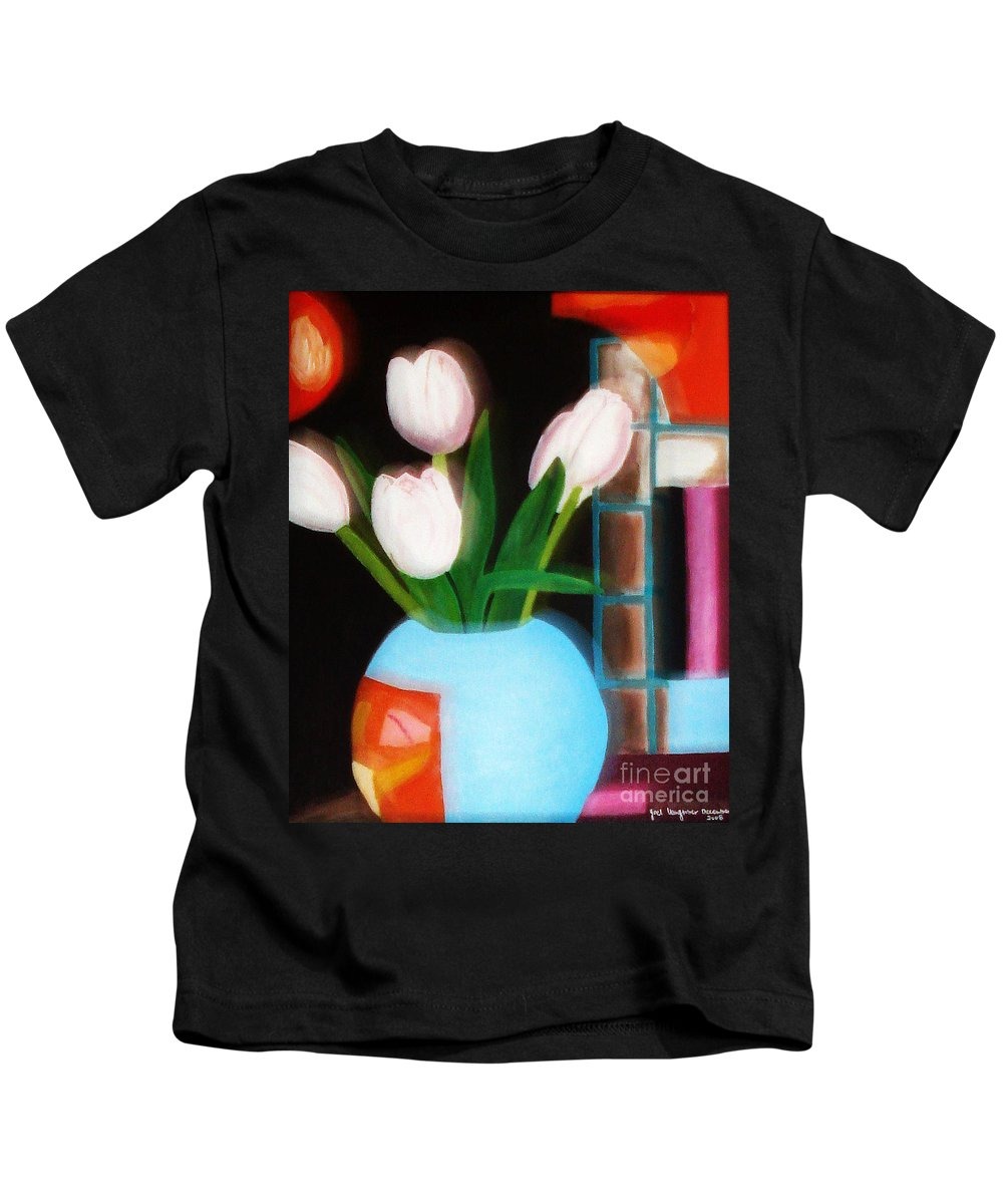 Landscape Kids T-Shirt featuring the painting Flower Decor by Yael VanGruber