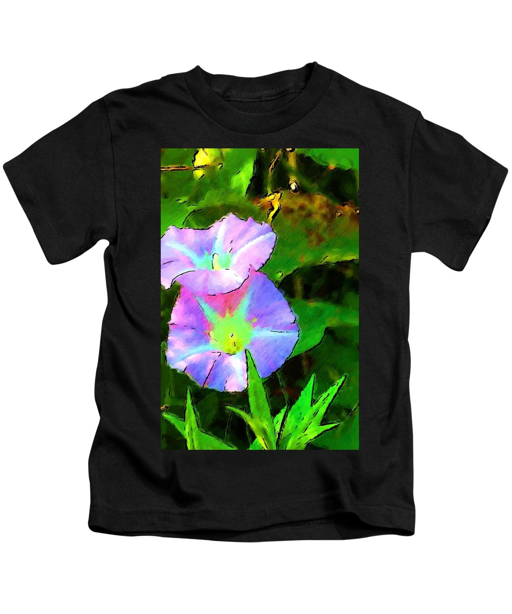 Digital Photograph Kids T-Shirt featuring the photograph Flower Drawing by David Lane